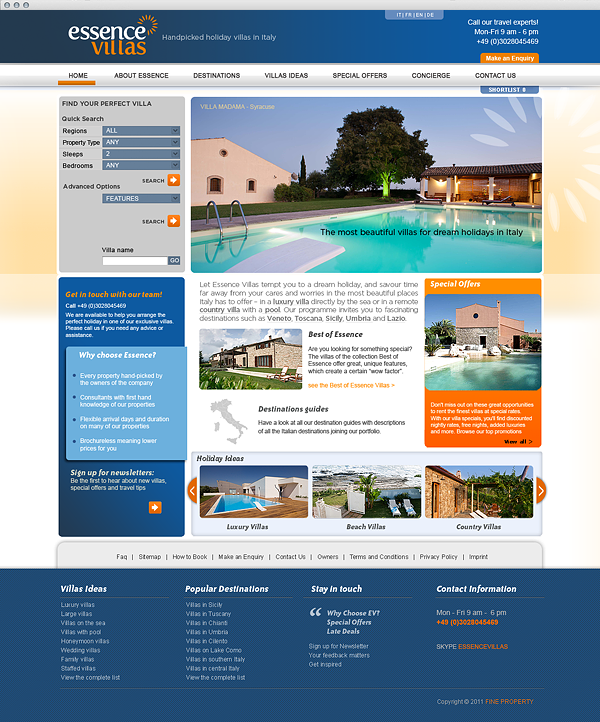home page Essence Villas